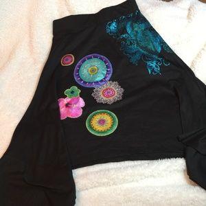 Desigual Asymmetric Hem Applique Black Skirt S